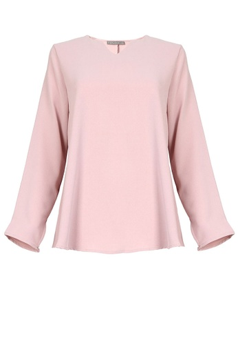 POPLOOK pink Jenifer V-Neck Flare Blouse 724BCAA674A7BEGS_1