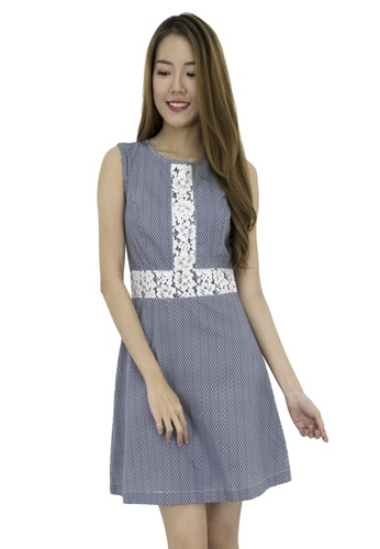 MOONRIVER navy Liz Printed Fit And Flare Dress MO886AA0GLSKSG_1