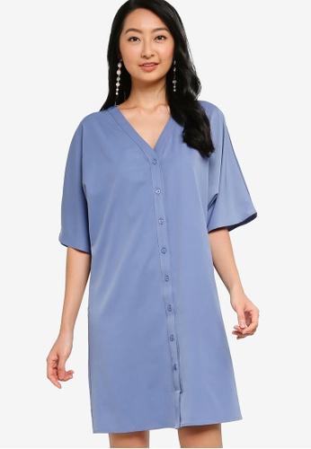 ZALORA BASICS blue Oversized Button Down Dress 145E3AA692B9E1GS_1