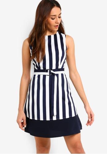 ZALORA multi and navy Belted Layered Dress EFD59AA6DCBEEDGS_1