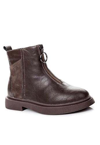 Twenty Eight Shoes 褐色 磨沙牛皮和頭層牛皮中筒靴 VB1555 4F351SH9E89B13GS_1