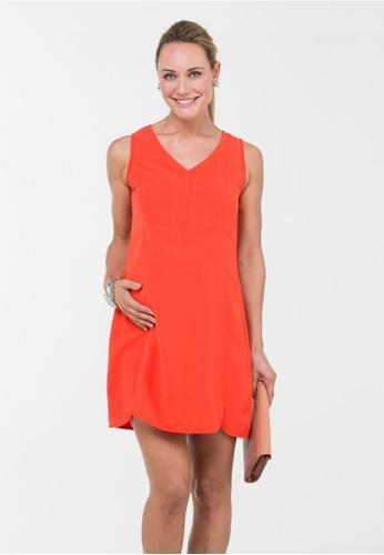 spring maternity woven sleeveless blanca v neck dress orange
