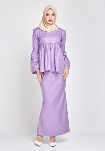 MOTHER & CHILD purple Anna Kurung Peplum C1AD7AAB3E4AA5GS_1