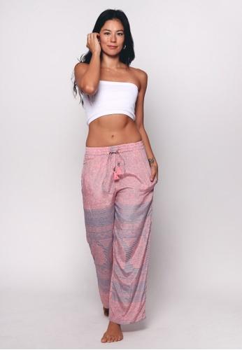 Aanya pink Pink Silk Straight Lounge Pants 35E9CAA993B3CEGS_1