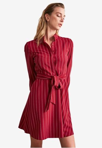 Trendyol red Long Sleeve Belted Stripe Dress 3359AAA49D98F8GS_1