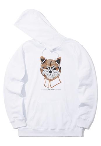 BLOCKAIT white Akita Ken graphic hoodie 042A7AA3B09249GS_1