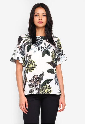 Dorothy Perkins white Ivory Tropical Floral Top 5FA62AAB441E85GS_1