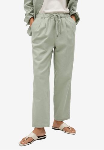 Mango green Elastic Waist Cotton Trousers 0ED49AA3439B7CGS_1