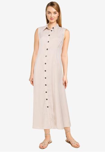 LC Waikiki grey Tencel Fabric Sleeveless Shirt Dress 245C5AAF9929E3GS_1