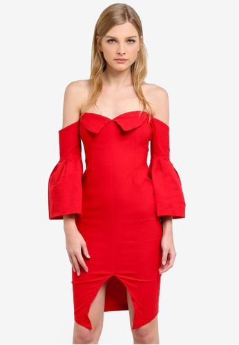 Vesper red Rhian Bardot Neck Sleeve Detail Dress VE733AA0S77WMY_1