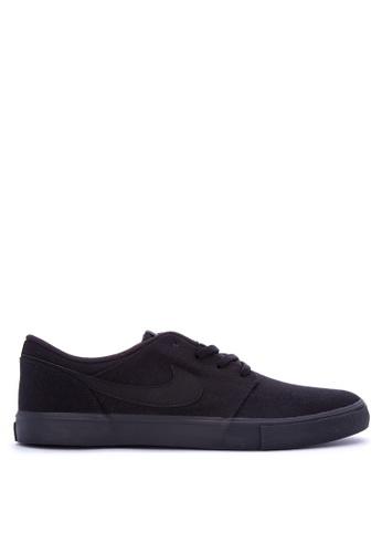 Nike black Men's Nike SB Solarsoft Portmore II Skateboarding Shoes NI126SH0KPS3PH_1