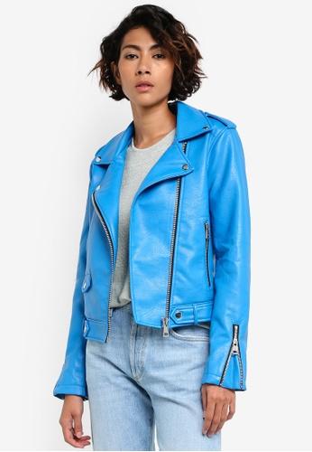 Mango blue Applique Biker Jacket MA193AA05BYWMY_1