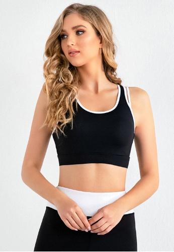 B-Code black ZUU3057-Lady Quick Drying Running Fitness Yoga Sports Bra-Black 96D01AADD75D88GS_1