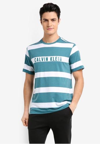 Calvin Klein blue Stripe Print Short Sleeve Tee - Calvin Klein Performance EAFAEAA0CA71CEGS_1