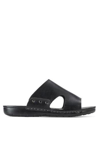 Spiffy black Casual Sandals SP352SH79IOIMY_1