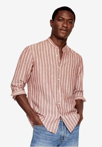 MANGO Man orange Regular-Fit Striped Linen Shirt 86A7DAAEF615E9GS_1