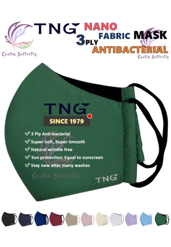 Cantik Butterfly green TNG 3 Ply Antibacterial Nano Fabric Mask Reusable (Army Green) Set of 5 C1093ESB95CED9GS_1