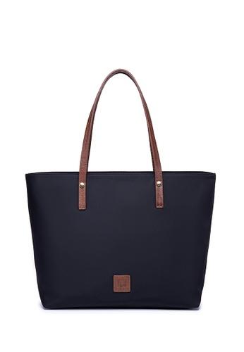 ULA ULA black and brown ULA ULA Fine Nylon Leather Trim Double Handles Shopper Tote With RFID Pocket (DA-1020) 5A524AC7B805E0GS_1