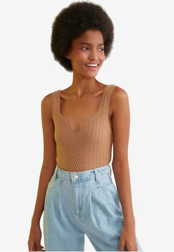 Trendyol brown V Cut Collar Knit Top 2A2D9AA29018E6GS_1