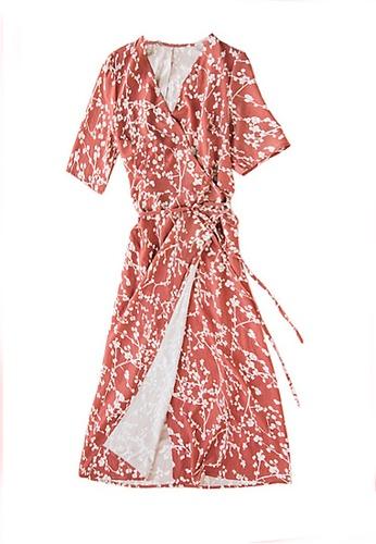 Twenty Eight Shoes pink VANSA Floral Print Chiffon Dress  VCW-D06 0C3B1AA552F11CGS_1