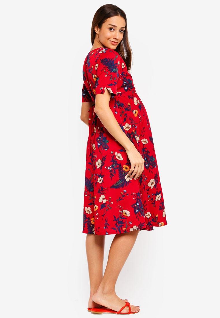 Maternity Dress Floral Bébé JoJo Wrap Maman Red grrAw