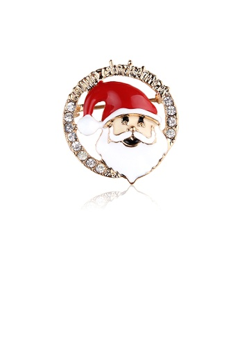 Glamorousky white Fashion Creative Plated Gold Santa Claus Circle Brooch with Cubic Zirconia 2C206AC9E1F51CGS_1