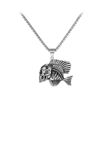 Glamorousky silver Fashion Personality Skeleton Clownfish 316L Stainless Steel Pendant with Necklace 95BC1AC6A3D6E4GS_1