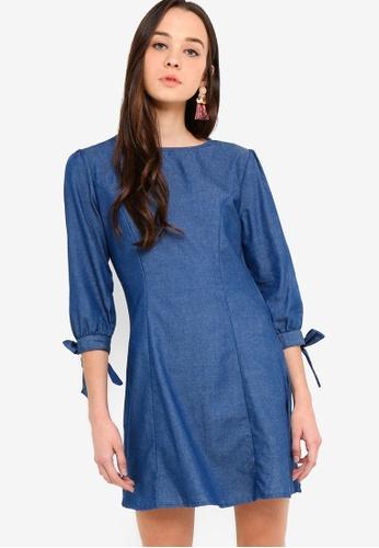 fbc0f288d289 Something Borrowed blue Long Sleeves Chambray Shift Dress 41E5CAAFB517AEGS_1