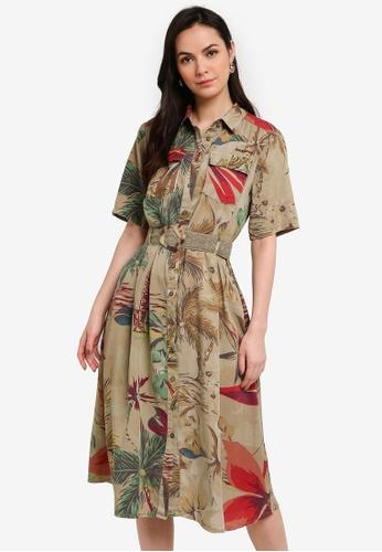 Desigual brown Floral Safari Dress 311ADAA6802552GS_1