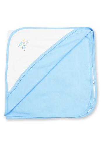 Tiny Tummies white and blue Receiving Blanket With Owl Print 7E2F3KAD4CBA1CGS_1