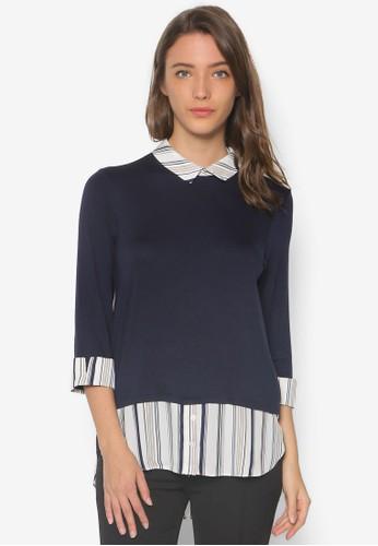 假兩件七分袖針織襯衫, 服飾zalora 衣服評價, 上衣