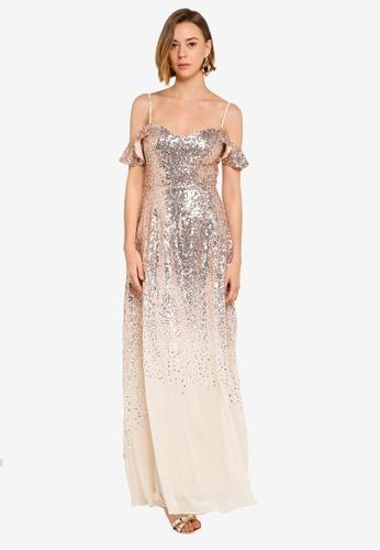 44f6580f57 Goddiva gold Flutter Sleeve Sequin And Chiffon Maxi Dress 5B238AA3C2BFB0GS_1