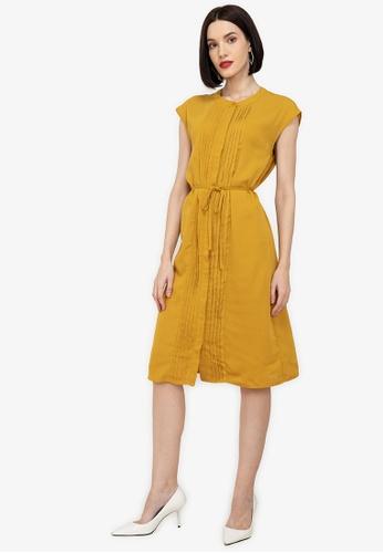ZALORA WORK yellow Pintuck Detail Dress 7CD24AAF365DA8GS_1