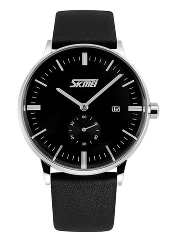 Skmei black SKMEI 9083 Men's Classic Calendar Quartz Leather Watch (Black) SK707AC0RXE1MY_1