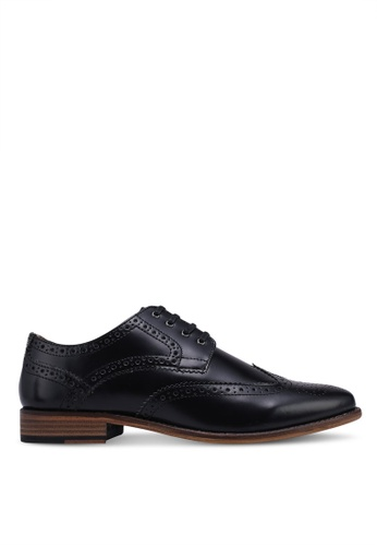 Topman black Black Leather Hale Brogue Shoes C4342SH73229EFGS_1