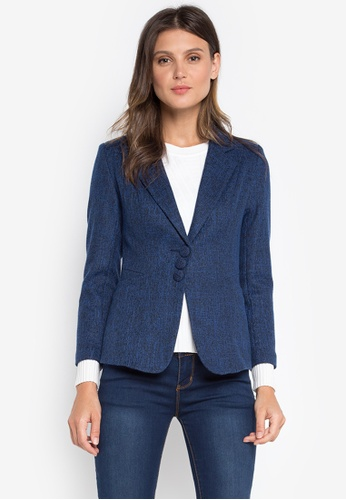 Well Suited blue Textured Blazer EB9C1AA66EB500GS_1