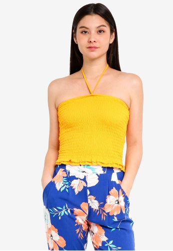 Cotton On yellow Reva Rouched Halter Tube Top 5AED5AA75AF1DBGS_1