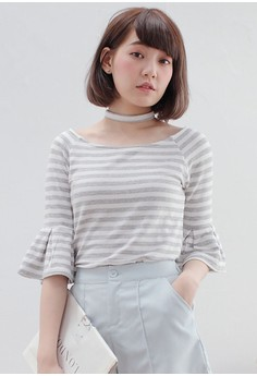 Fluttery Stripes Choker Top