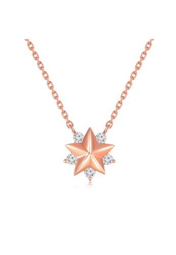 MaBelle red 18K 750 Rose Gold Diamond Star Pendant Necklace 39C26AC35AFCB0GS_1