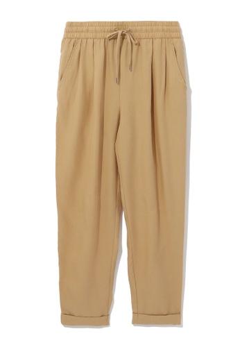 tout à coup beige Drawstring cropped trousers C52A6AA52EA138GS_1