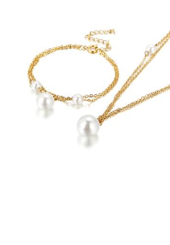 Glamorousky 白色 優雅簡約鍍金色幾何圓珠仿珍珠316L鋼雙層項鏈和手鏈套裝 B6326AC7BF551AGS_1