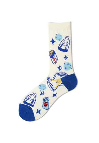 Kings Collection white Soda Pattern Cozy Socks (One Size) HS202246 3F5CCAAF4BDDF7GS_1