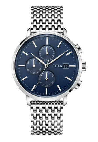 Solvil et Titus blue and silver Men's Chronograph Quartz Watch in Blue Dial and Stainless Steel Bracelet SO598AC0GFA5SG_1