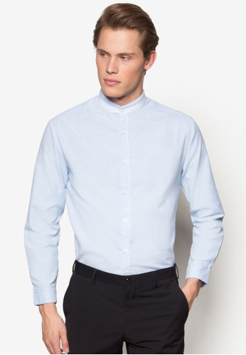撞色esprit服飾中式領長袖襯衫, 服飾, 服飾