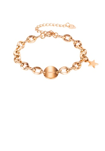 Glamorousky silver Simple Fashion Plated Rose Gold Geometric Circle Star 316L Stainless Steel Bracelet 0C222ACA0BD7E4GS_1