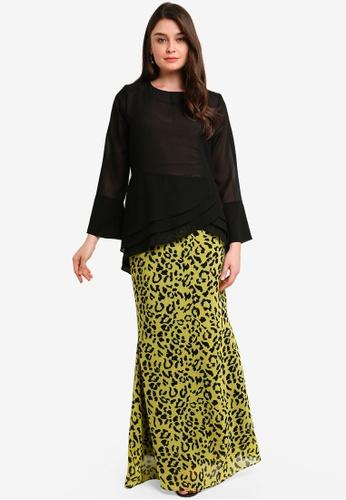 Midi Kurung Chiffon Peplum Kebaya Pleated w Layered Ruffle from Zuco Fashion in Black