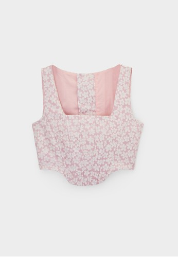 Pomelo pink Embroidered Flower Lace-Up Corset - Pink A3CBDAAE7F86DAGS_1