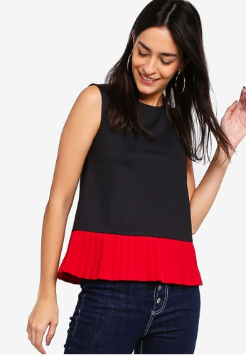 ZALORA black and red Pleated Hem Top 338A0AA22E5B58GS_1
