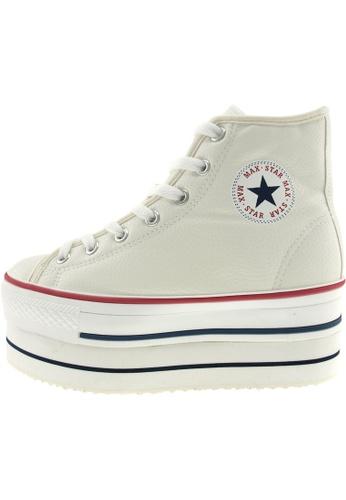 Maxstar 白色 新款韩国鞋CN9-8H-TC時尚皮革布混合女白色 US Women Size MA345SH85HJETW_1