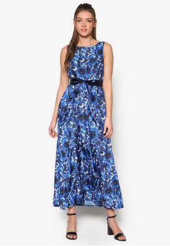 Kisseesprit 床上用品s 玫瑰印花繫帶長洋裝, 服飾, 洋裝